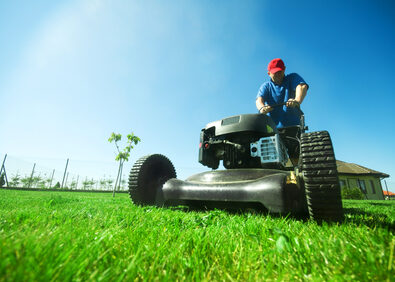 Man mowing the lawn.