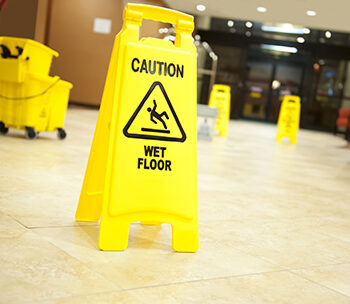wet floor sign in office building